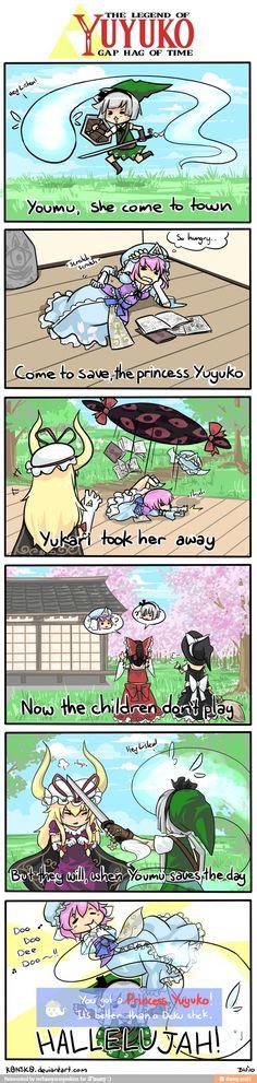 Touhou, Zelda, Link, Youmu, Yuyuko, Yukari