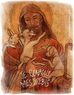 Jn_10_11-18_je-connais-mes-brebis Images Of Christ, Pictures Of Christ, Life Of Christ, In Christ Alone, Christ The Good Shepherd, Jesus Art, Prophetic Art, Lion Of Judah, Sacred Art