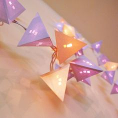 Pyramid Light Garland with Stacked Square Die Cuts in Purple, Cream, and Toffee - Short Strand