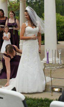 Davids bridal cap sleeve slim gown with keyhole back style vw9768 davids bridal cap sleeve slim gown with keyhole back wedding dress davids bridal cap junglespirit Gallery