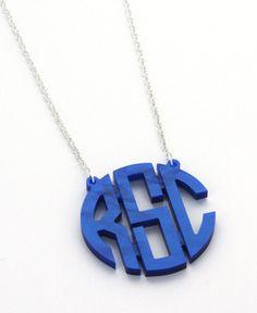 Floating Acrylic Monogram Necklace - Large - NEW COLORS. $69.00, via Etsy.