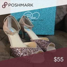 Betsy Johnson Blue Collection Wedding Shoes Blush open toe wedding shoes that strap around the ankle and have about a one and a half inch heel. They sparkle and are beautiful. Betsey Johnson Shoes Heels