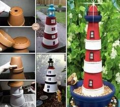 """Clay pot lighthouse. Basically, just 2 or more large plant pots cemented together and painted, with a lantern or solar light on top. Use multiple layers of primer and an outdoor craft paint. The craft paint will go on smoother if it is cooler than the pots. You can spray your painted lighthouse with exterior polyurethane for added protection. Optional: Add a pot tray at the top for a """"walk-around"""" and one at the bottom for a bird feeder or moat effect."""