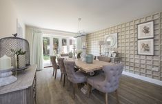 This lush dining space has a large dining table and incredible outdoor views! Long Melford, New Homes For Sale, Lush, Dining Table, The Incredibles, Patio, Interiors, Space, Outdoor Decor