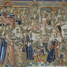 SERVER HAS A LONG WHITE TOWEL -- Feast of King Ahasuerus and Ester depicted as a contemporary Burgundian court banquet.
