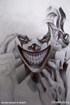 Evil clown drawings pencil drawing evil clown by creepy clown tattoo Evil Clown Tattoos, Skull Tattoos, Body Art Tattoos, Sleeve Tattoos, Tatoos, Clown Faces, Creepy Clown, Tatouage Jester, Tattoo Sketches