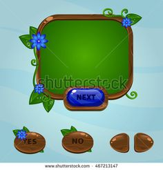 Cartoon user interface. Wood button and red flowers. Gui design.