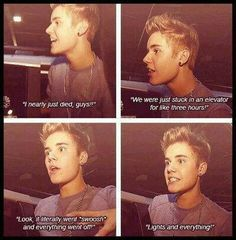 Bieber memory When Justin got stuck in an elevator. Justin's cloister-phobic! Me too baby! I would cry if I was stuck in a elevator..... Unless justin was there with me.