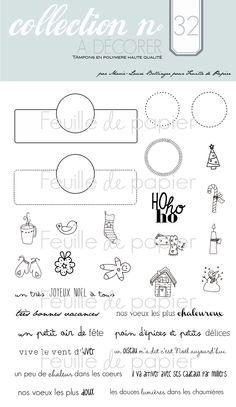 MATERIEL > Tampons > Marie-Laure Bollinger pour Feuille de papier > Collections N° 32 A decorer - Feuille de papier - Kits en ligne