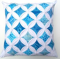 Decorative Pillow Cover Cathedral Window Blue Batik - 18 Inch