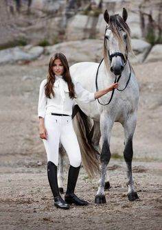 The most important role of equestrian clothing is for security Although horses can be trained they can be unforeseeable when provoked. Riders are susceptible while riding and handling horses, espec… Pretty Horses, Horse Love, Beautiful Horses, Gray Horse, Beautiful Models, Equestrian Chic, Equestrian Outfits, Equestrian Fashion, Horse Fashion