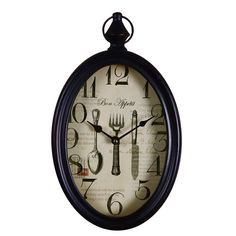 "Furnistars Black Iron Vintage-Inspired Wall Clock ""Bon Appetit"""