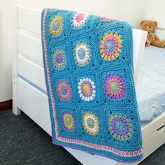 Crochet Granny Square Flower Blanket. Pretty Colors