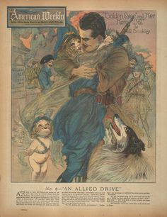"""Nell Brinkley, """"Golden Eyes and her Hero Bill: No. 6-- An Allied Drive,"""" in The American Weekly."""""""