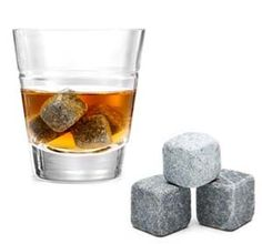 Whiskey Ice Cube Stones. Whiskey stones are freezable naturally mined soapstones that will keep your drink cold but won't water it down. The whiskey stones will keep your drink cold up to an hour, allowing you to savor the delicious whiskey or other liquor of your choice.