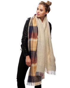 Beige / 100% Acrylic / Reversable Check Oblong Scarf