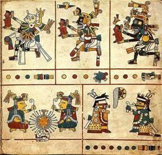 Codex Fejérváry-Mayer is a 15th or early 16th century Aztec (or Mixtec) manuscript on deer skin from Veracruz in central Mexico. Link.