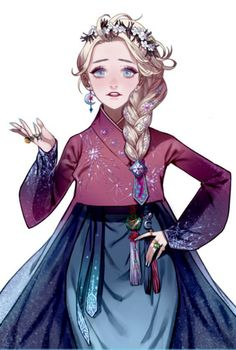 Gegegege found it! Elsa in Hanbok style without the watermark X) Korean Anime, Korean Art, Disney Princess Art, Disney Fan Art, Disney Anime Style, Korean Traditional Dress, Traditional Dresses, Korean Hanbok, Princesa Disney