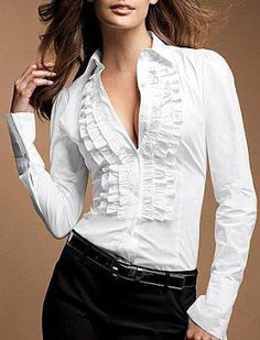 Ruffled Tuxedo Shirts looks great with my plaid pants and oxfords! Classy Outfits, Casual Outfits, Fashion Outfits, Tux Shirt, Business Attire, White Shirts, Blouse Designs, Victoria's Secret, Clothes For Women