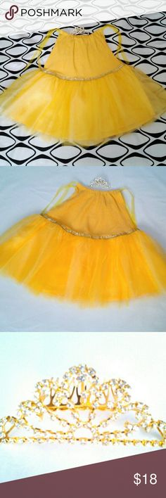 """Girls Tutu & Tiara Yellow size 6 - 6X handmade 21"""" length. Adjustable at shoulder ties. Bodice full tent style drop waist with bling. Have Heart Daily Dresses Formal"""