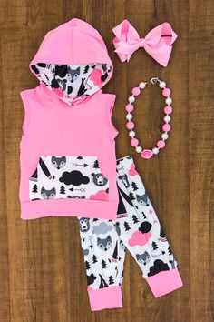 Bear Teepee Hooded Tank Capri Set- PINK We love these boy girl bear teepee hooded tank sets! So comy, yet oh so stylish! Perfect for boys and girls, and how fun to match your sibling!