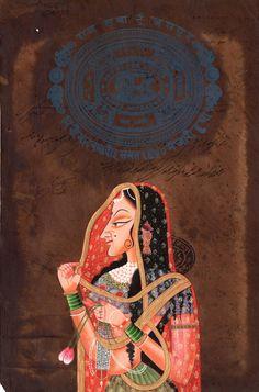 Indian Miniature Ethnic Art Handmade Rajasthani Portrait Folk Paper Painting