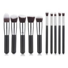 10Pcs Wool Fiber Makeup Brush Set Black Handle Blush Smoked Powder... (409.735 BRL) ❤ liked on Polyvore featuring beauty products, makeup, makeup tools, makeup brushes, powder brush and makeup powder brush