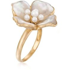 Ross-Simons Mother-Of-Pearl, 2-4mm Cultured Pearl Flower Ring in Gold. ($359) ❤ liked on Polyvore featuring jewelry, rings, ross simons rings, mother of pearl flower ring, flower jewellery, freshwater pearl ring and yellow gold rings