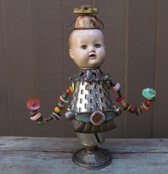 Found Objects Assemblage Art Doll by SalvageArtSweetheart on Etsy, $325.00