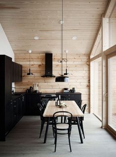 I like the way the black looks on the lighter wood but I feel like its overwhelming with black and why would you want black cabinets house interior Modern Interior Design of a Log House Plays with Contrasts - Honka Modern Cabin Interior, Modern House Design, Decor Interior Design, Interior Decorating, Natural Modern Interior, Wood Interior Walls, Modern Cabin Decor, Modern Log Cabins, Decorating Ideas