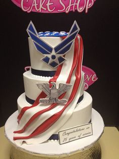 Us Air Force Cake Military Retirement Parties, Retirement Cakes, Retirement Ideas, Military Cake, Military Party, Fondant Cakes, Cupcake Cakes, Cupcakes, Air Force Birthday