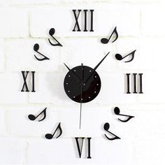 New DIY Black Music Notes Clock Mirror Surface Wall Sticker Home Office Decor Alternative Measures