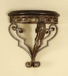 Iron and Antique Brown Leather Wall Bracket