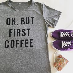 "Ok, But First Coffee ☕️ (1 sm&1 med) Girls, am I right? I know I can't function without it! ☺️ this shirt is super cute and on trend. Short sleeve. Round collar. Soft and lightweight, the fit is a little smaller then true to size. I would order a size up from your normal. I have size M, L, XL  but listed S,M,L Since those are more appropriate sizes‼️DO NOT BUY THIS LISTING‼️comment with your size☕️PRICE FIRM  ⭐️MEASUREMENTS⭐S: width: 16 1/2 length: 22""❤️️M: width:17 1/2"" length: 23"" ❤️L…"