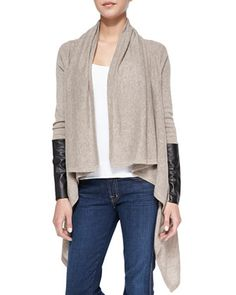 Leather-Sleeve Draped Cashmere Cardigan by Autumn Cashmere at Bergdorf Goodman.