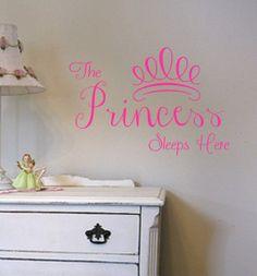 Childrens Princess Sleeps Here Vinyl Wall Decal by landbgraphics, $22.99
