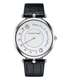 La montre Heure d'ici & Heure d'ailleurs de Van Cleef & Arpels http://www.vogue.fr/joaillerie/le-bijou-du-jour/diaporama/la-montre-heure-d-ici-heure-d-ailleurs-de-van-cleef-arpels-double-fuseau-horaire/19646