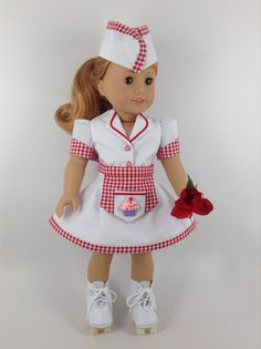 This is a CUSTOM listing for TR  Handmade waitress/carhop outfit...skirt, blouse, apron, hat, panties, and roller skates...for American Girl and