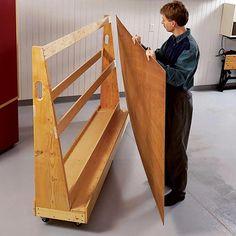 Roll-Around Plywood Cart Woodworking Plan, Workshop & Jigs Shop Cabinets… Lumber Storage Rack, Plywood Storage, Lumber Rack, Garage Storage, Workshop Storage, Home Workshop, Workshop Layout, Garage Workshop, Woodworking Workshop
