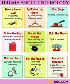 Technology Idioms and Sayings! Learn frequently used idioms about technology in English with meaning, ESL picture and example sentences. English Idioms, English Vocabulary Words, English Phrases, English Lessons, English Grammar, French Lessons, Spanish Lessons, English Language Learning, Teaching English