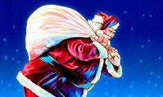 Der Weihnachtsmann mit seinem dicken Geschenkesack über der Schulter