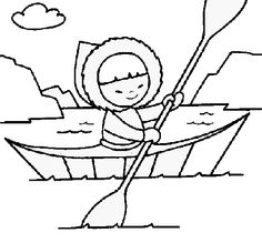 Colored page Eskimo canoe painted by maite - ClipArt Best Coloring Pages Winter, Cute Coloring Pages, Coloring For Kids, Coloring Books, Polo Norte, Eskimo, Shapes Worksheets, Felted Wool Crafts, Art Activities