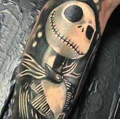 Nightmare before Christmas tattoo Jack Tattoo, Tattoo You, Nightmare Before Christmas Tattoo, Sleeve Tattoos, Tatting, Piercings, Skull, Tatoo, Tattoo Sleeves