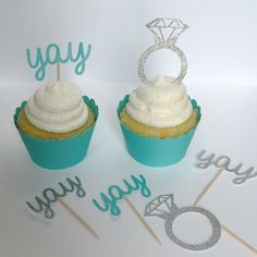 Teal Diamond Cupcake Toppers