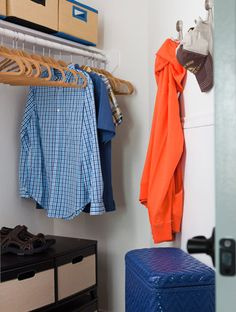 Hooks for hats, bins for shoes, and a hamper for dirty clothes are all essentials for a neat and tidy teen's closet.