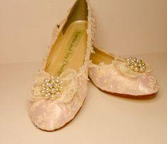 Dentelle Ivoire Ballet Flats chaussures de mariage de Marie Antoinette dentelle Ivoire et perle, mariage chaussures, chaussures de mariée, chaussures de mariée, Zapatos de Wedge