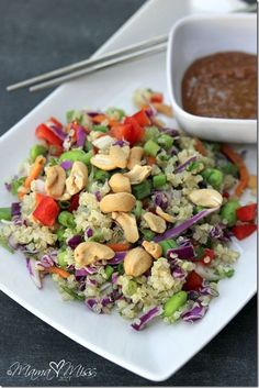 Quinoa Cashew Salad with Peanut Ginger Dressing - A protein packed salad, made complete with a complimentary peanut butter dressing. @mamamissblog