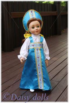 Handmade clothes for dolls: Traditional Russian dress for a doll with some instructions Sewing Doll Clothes, Sewing Dolls, Girl Doll Clothes, Girl Dolls, Ava Doll, Girls Dollhouse, Fairy Clothes, Doll Dress Patterns, Thinking Day