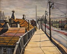 """""""Industrial Landscape,"""" Beatrice Cuming, ca. 1946, oil on canvas, 25 x 31 3/16, collection of Art & Peggy Hittner."""