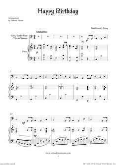 Free Happy Birthday sheet music for cello or other instruments and piano Happy Birthday Guitar Chords, Happy Birthday Piano, Happy Birthday Vintage, Birthday Songs, 90th Birthday, Viola Sheet Music, Cello Sheet Music, Saxophone Music, Piano Music